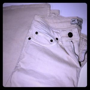 Cream flared free people crops size 25